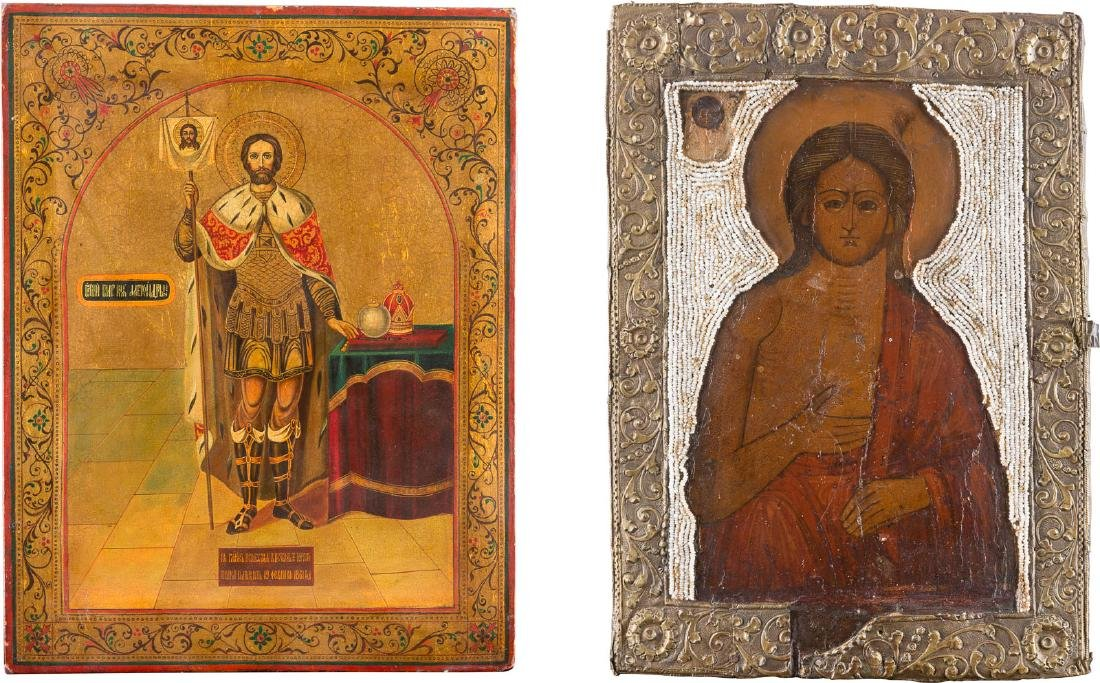 TWO ICONS SHOWING ST. MARY OF EGYPT WITH BASMA AND ST.