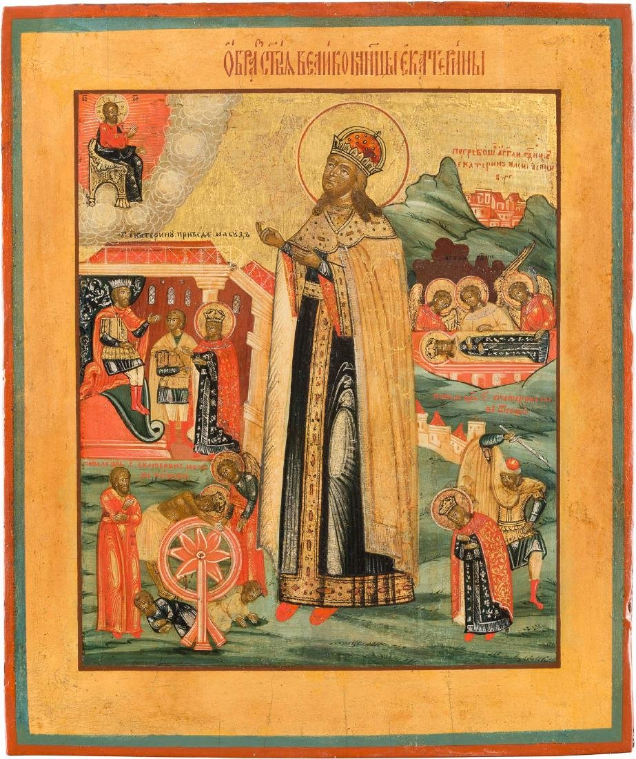 AN ICON SHOWING ST. CATHERINE WITH FOUR VITA-SCENES