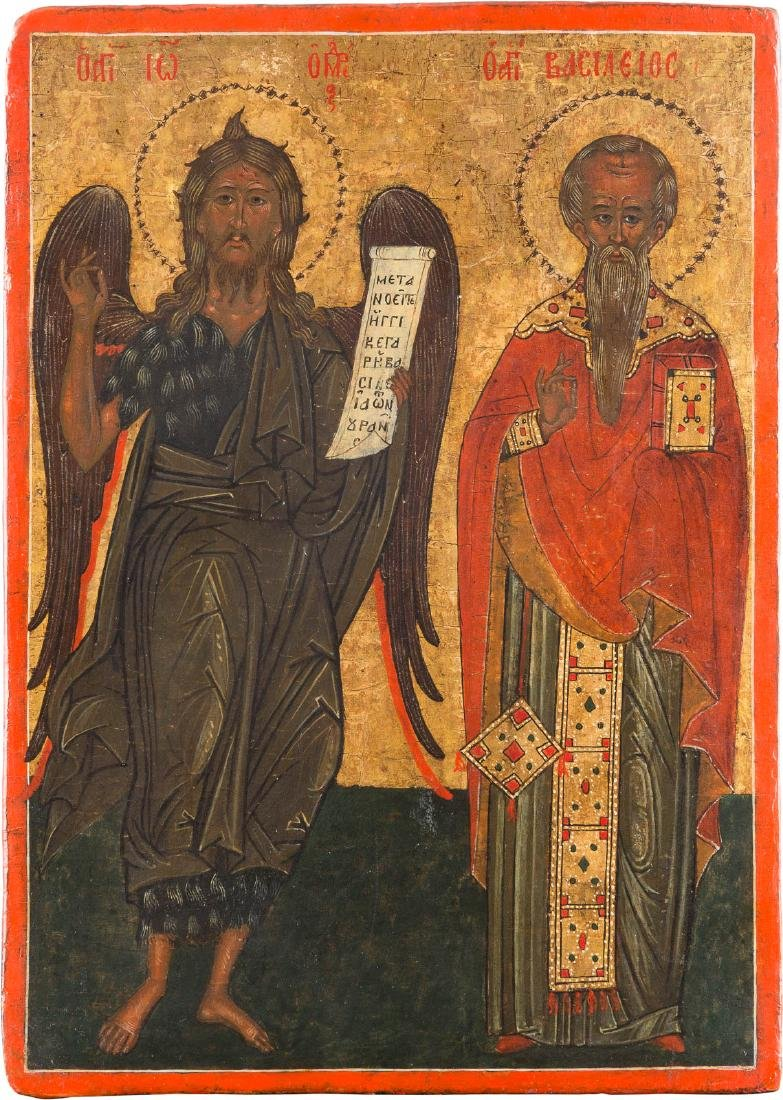 AN ICON WITH TWO SAINTS: ST. JOHN THE BAPTIST AND ST.