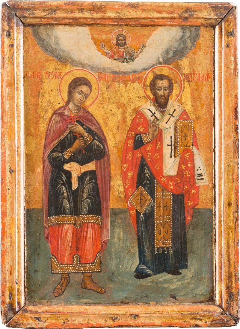 AN ICON SHOWING TWO SAINTS: NECTARIOS AND CHARALAMBOS