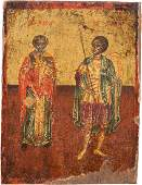 AN ICON SHOWING TWO SAINTS: NICHOLAS AND DEMETRIOS