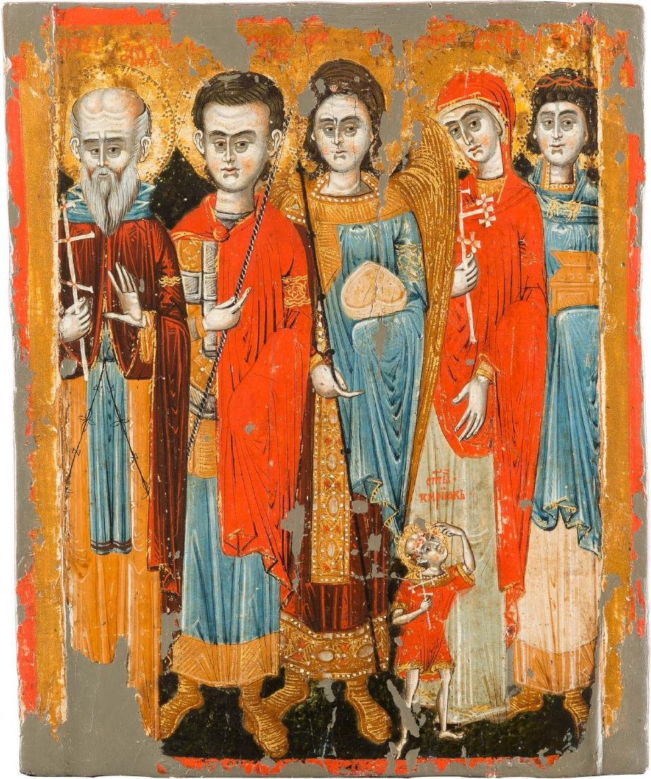 AN ICON SHOWING FIVE SELECTED SAINTS Greek, 18th