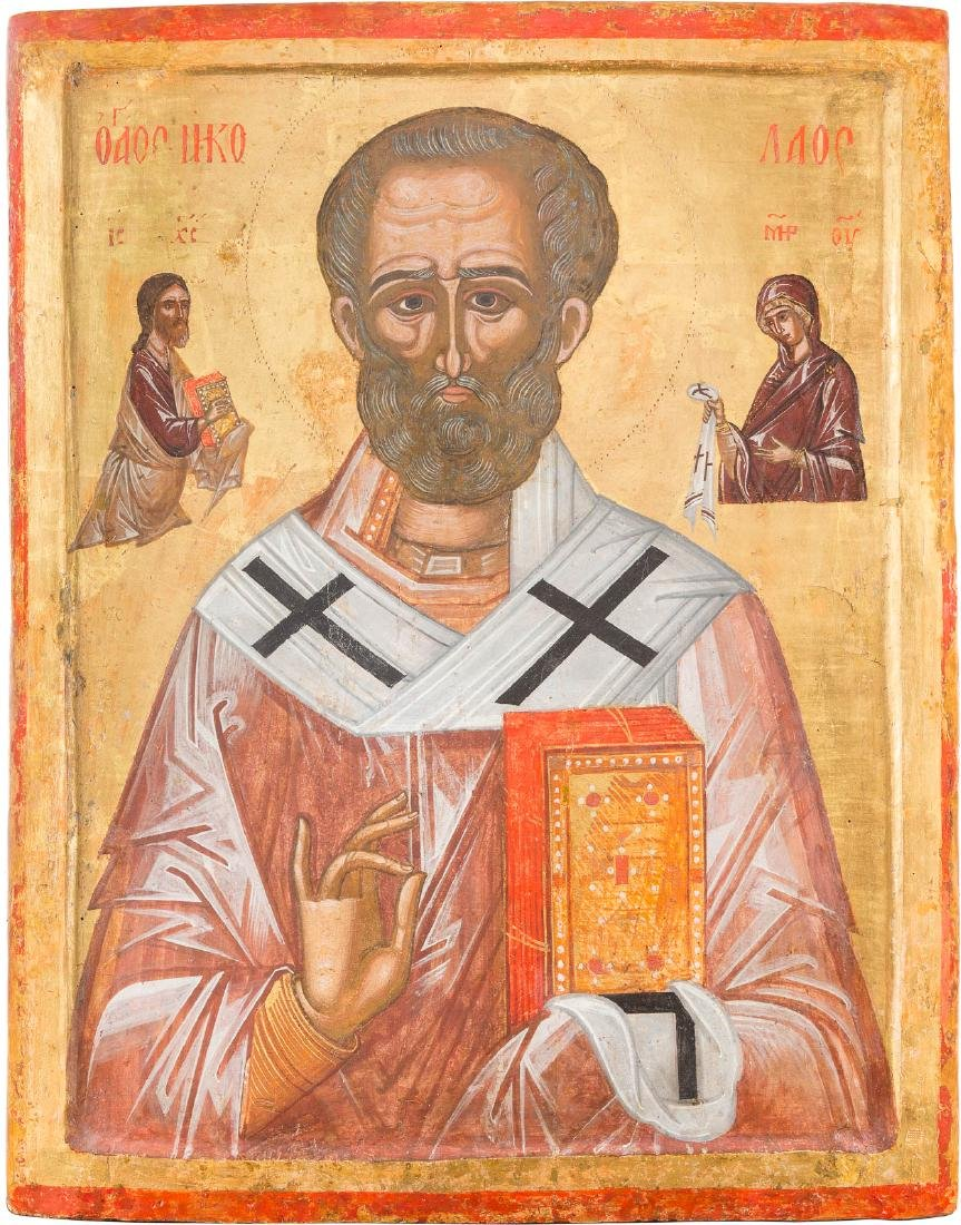 A FINE AND MONUMENTAL ICON OF ST. NICHOLAS THE MIRACLE