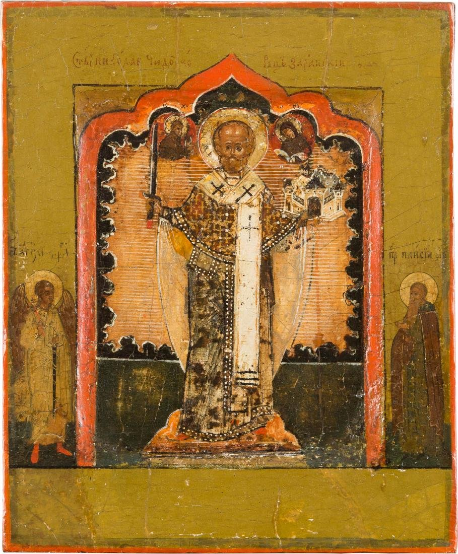 A FINE ICON SHOWING ST. NICHOLAS OF MOZHAJSK WITH