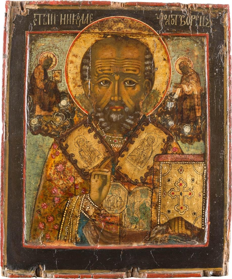 A RARE ICON SHOWING ST. NICHOLAS THE MIRACLE-WORKER