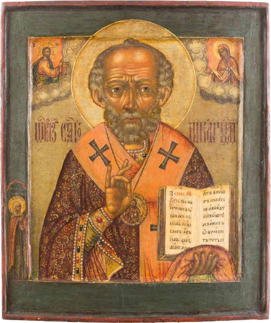 AN ICON SHOWING ST. NICHOLAS OF MYRA Russian, 18th