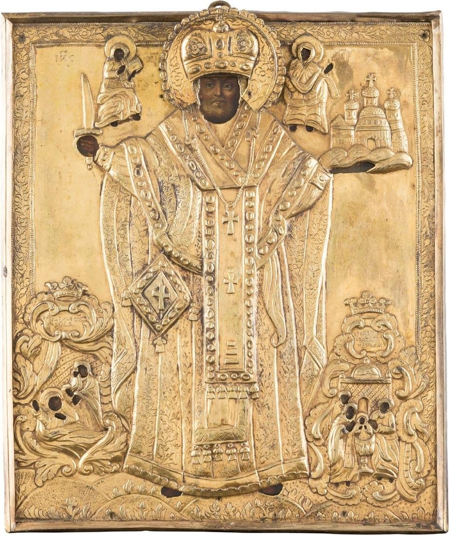 AN ICON SHOWING ST. NICHOLAS OF MOZHAJSK IN GILT