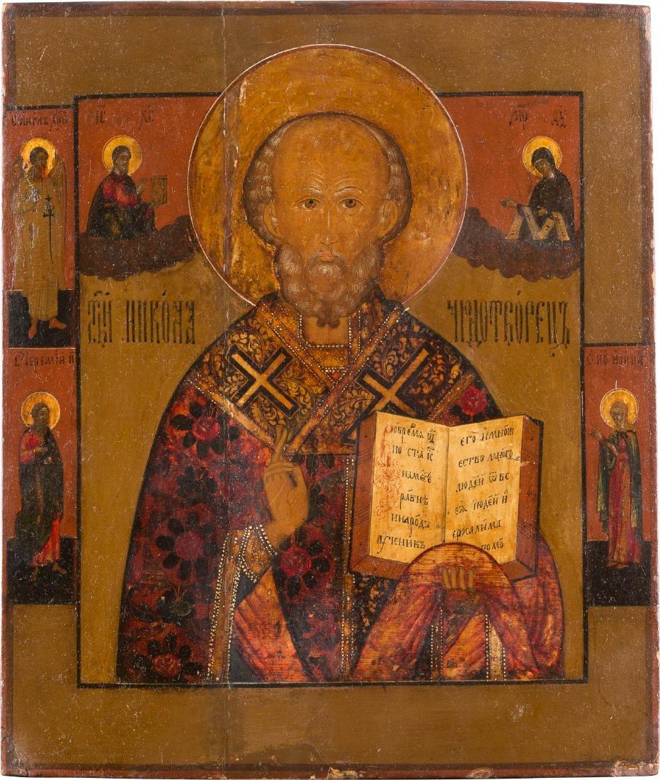 A LARGE ICON SHOWING ST. NICHOLAS WITH FOUR SAINTS