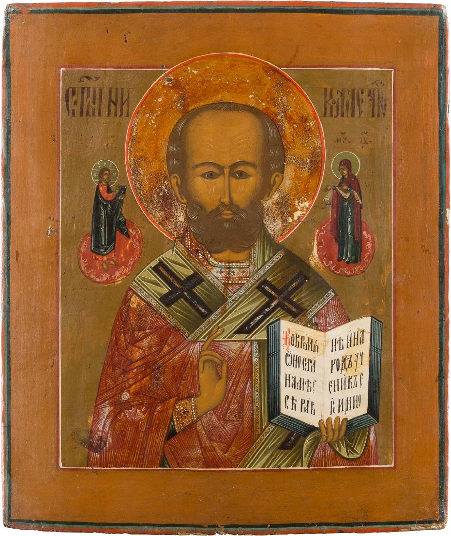 AN ICON SHOWING ST. NICHOLAS OF MYRA Russian, 19th