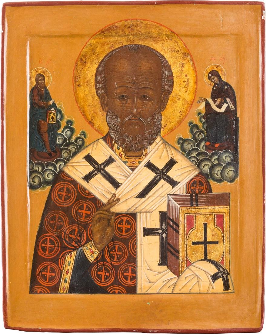 AN ICON SHOWING ST. NICHOLAS OF MYRA Russian, 17th