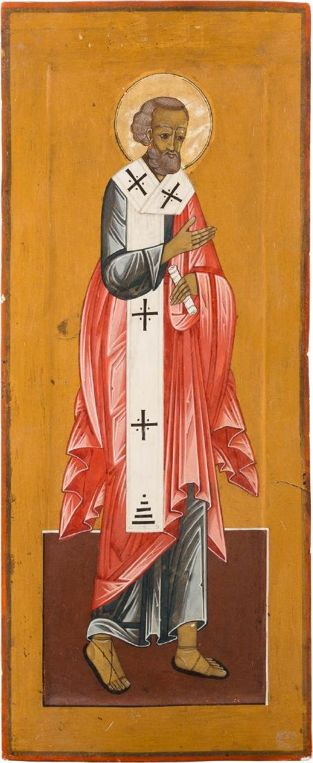 A LARGE ICON SHOWING A BISHOP SAINT FROM A CHURCH