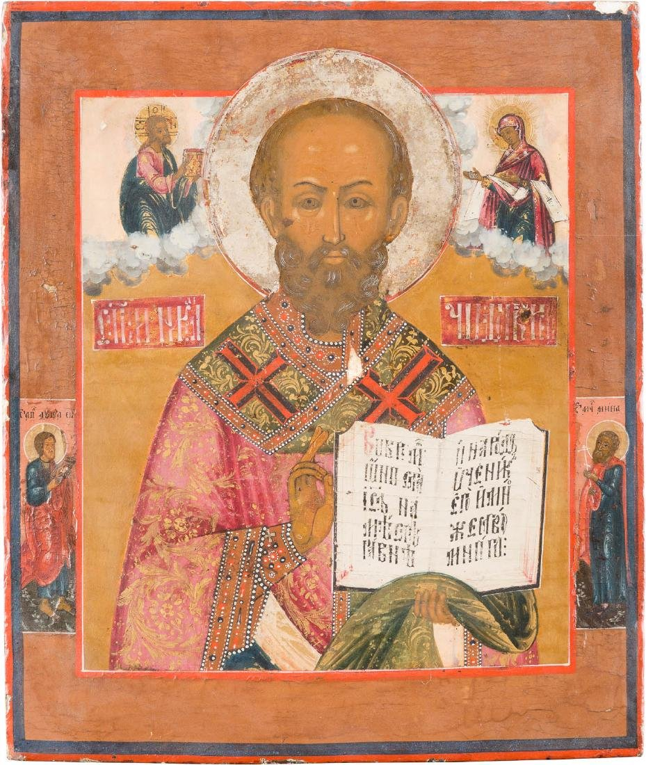 AN ICON SHOWING ST. NICHOLAS AND SELECTED SAINTS
