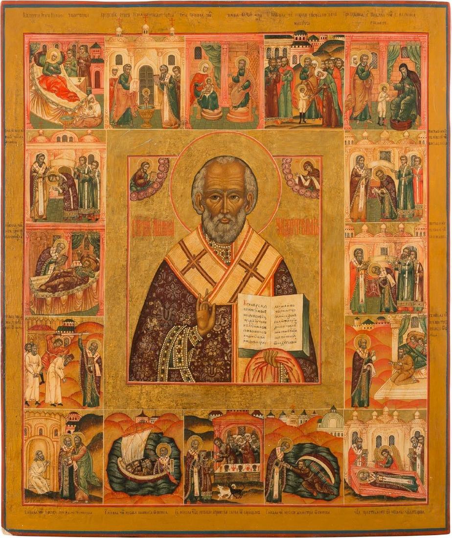 A MONUMENTAL VITA ICON OF ST. NICHOLAS OF MYRA Russian,
