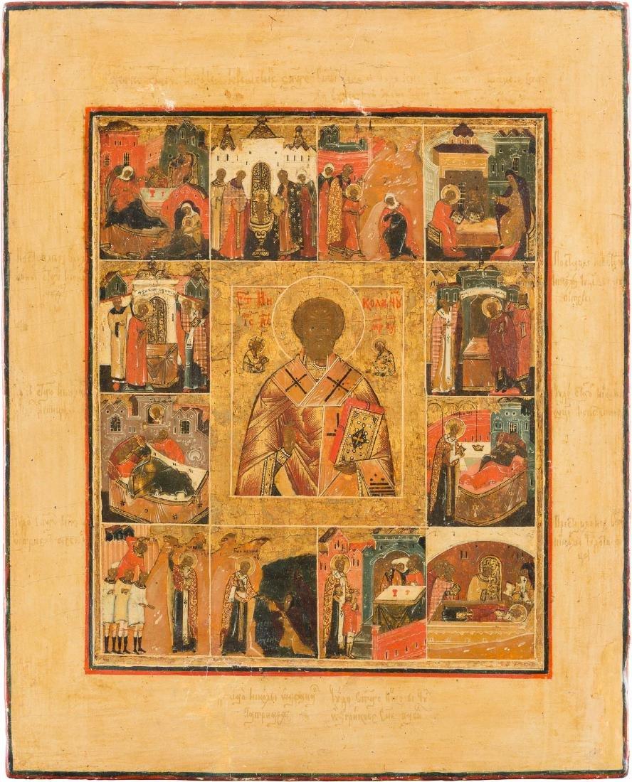 A FINE VITA ICON OF ST. NICHOLAS OF MYRA Russian, 19th