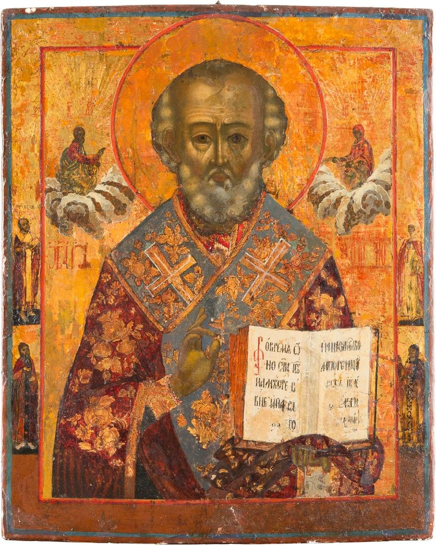 A LARGE ICON SHOWING ST. NICHOLAS OF MYRA Russian,