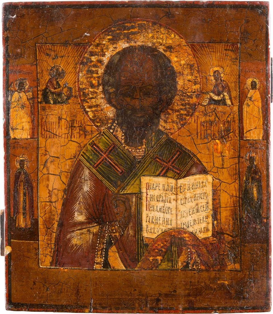 AN ICON SHOWING ST. NICHOLAS WITH FOUR SAINTS Russian,