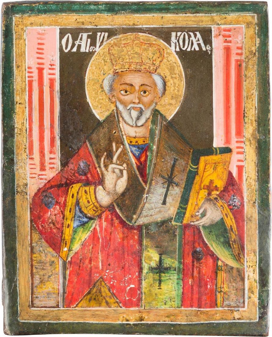 A SMALL ICON OF ST. NICHOLAS OF MYRA Greek, 19th