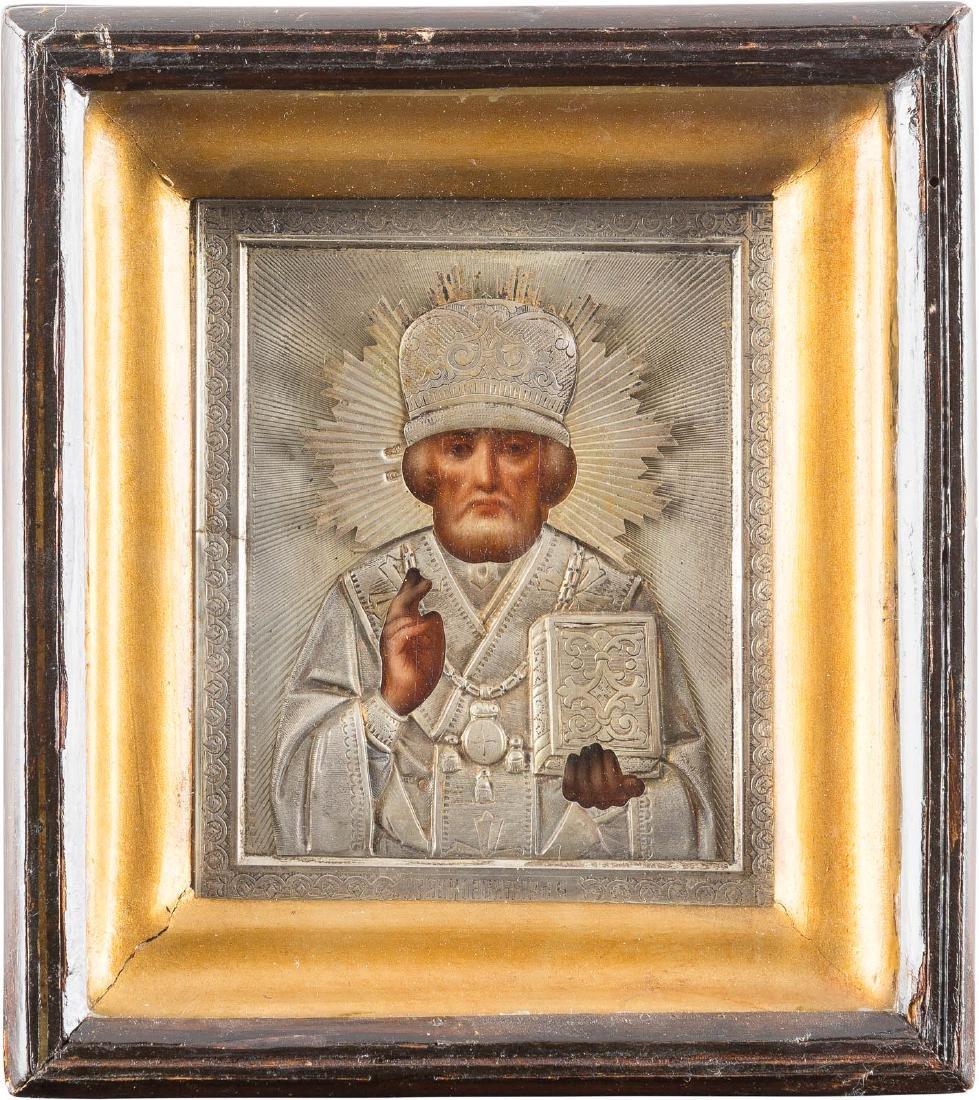 A SMALL ICON: ST. NICHOLAS WITH SILVER-OKLAD IN KIOT
