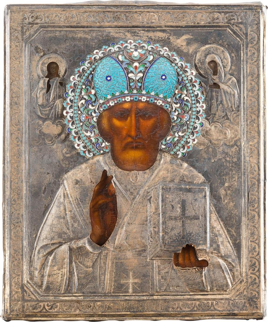 AN ICON SHOWING ST. NICHOLAS OF MYRA WITH A SILVER AND