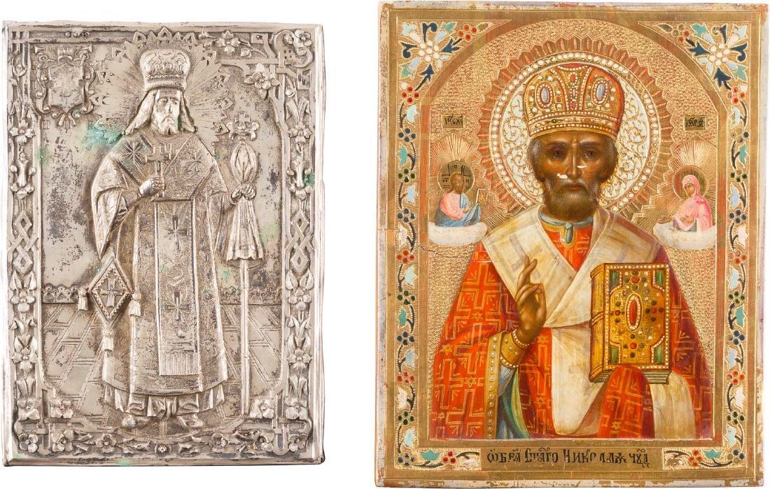 TWO ICONS: ST. NICHOLAS AND ST. FEODOSIJ Russian, 19th/