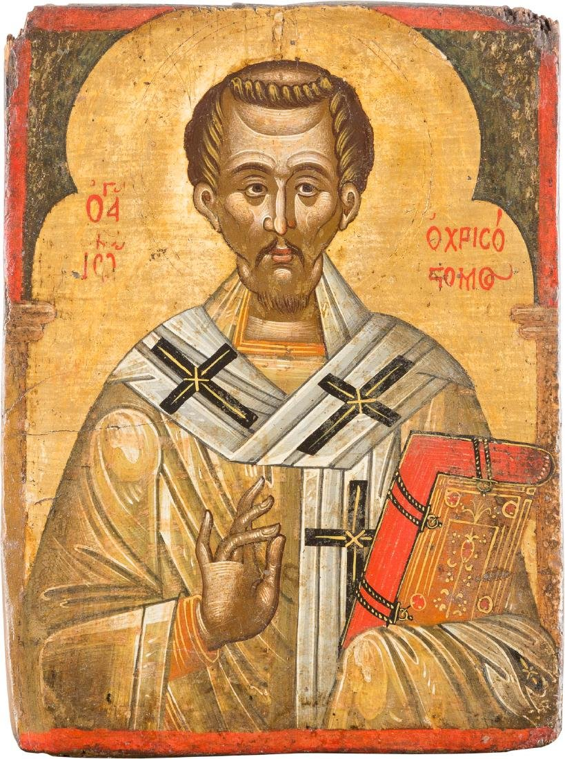 AN ICON SHOWING ST. JOHN CHRYSOSTOM Greek, 17th century