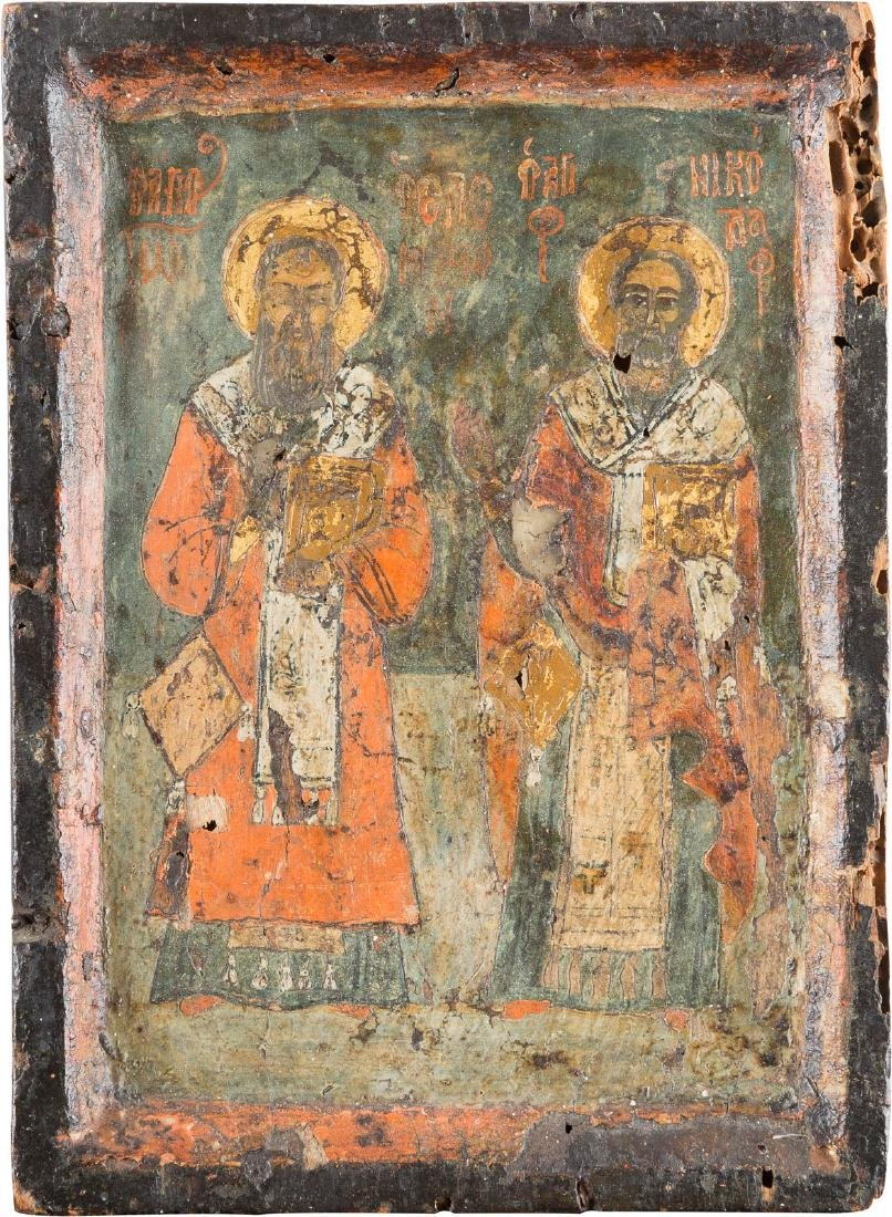 A SMALL WING OF A TRIPTYCH SHOWING TWO BISHOP SAINTS