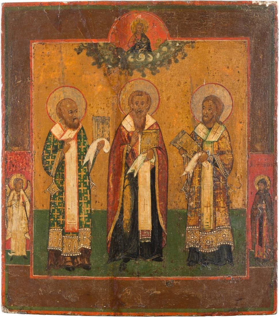 AN ICON SHOWING THREE HIERARCHS OF ORTHODOXY Russian,