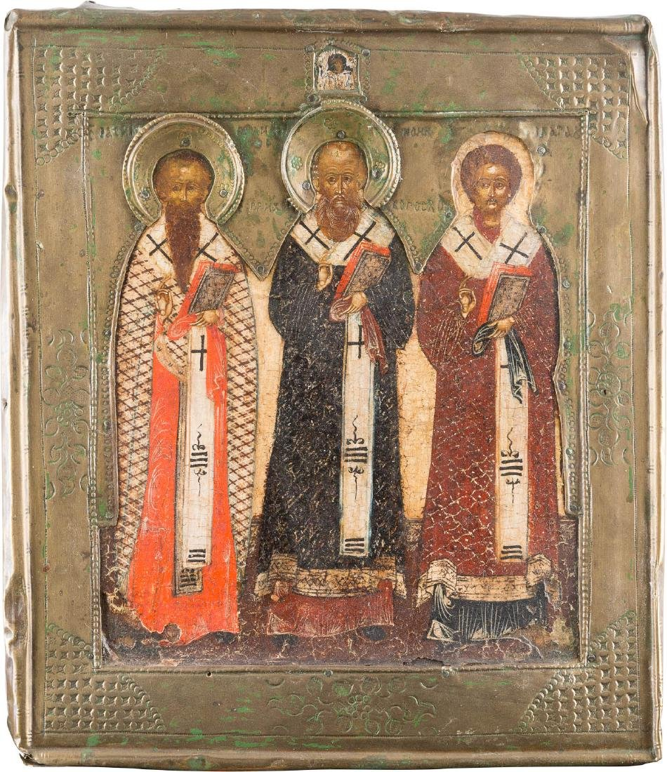 AN ICON OF THE THREE HIERARCHS OF ORTHODOXY WITH RIZA