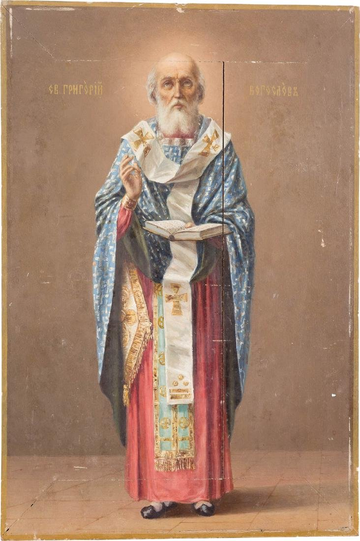 AN ICON SHOWING ST. GREGORY THE THEOLOGIAN Russian,