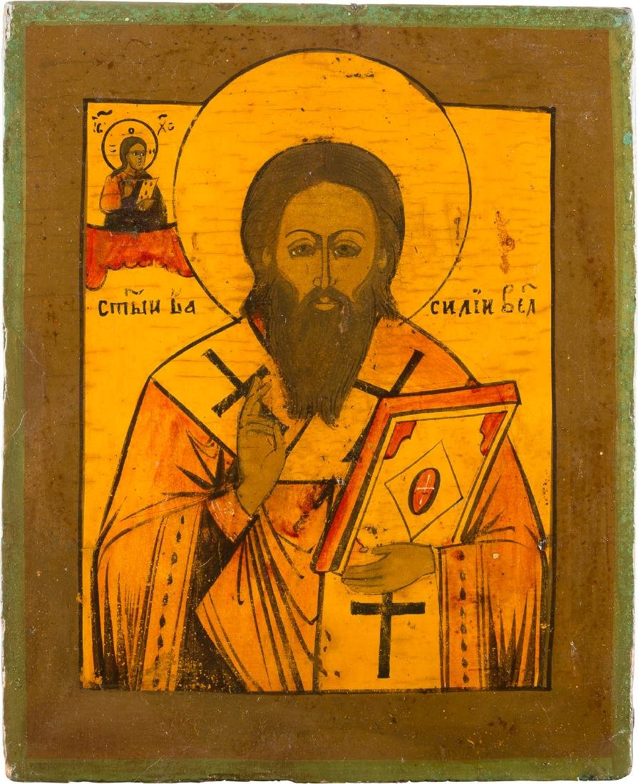 AN ICON SHOWING ST. BASIL THE GREAT Russian, late 18th