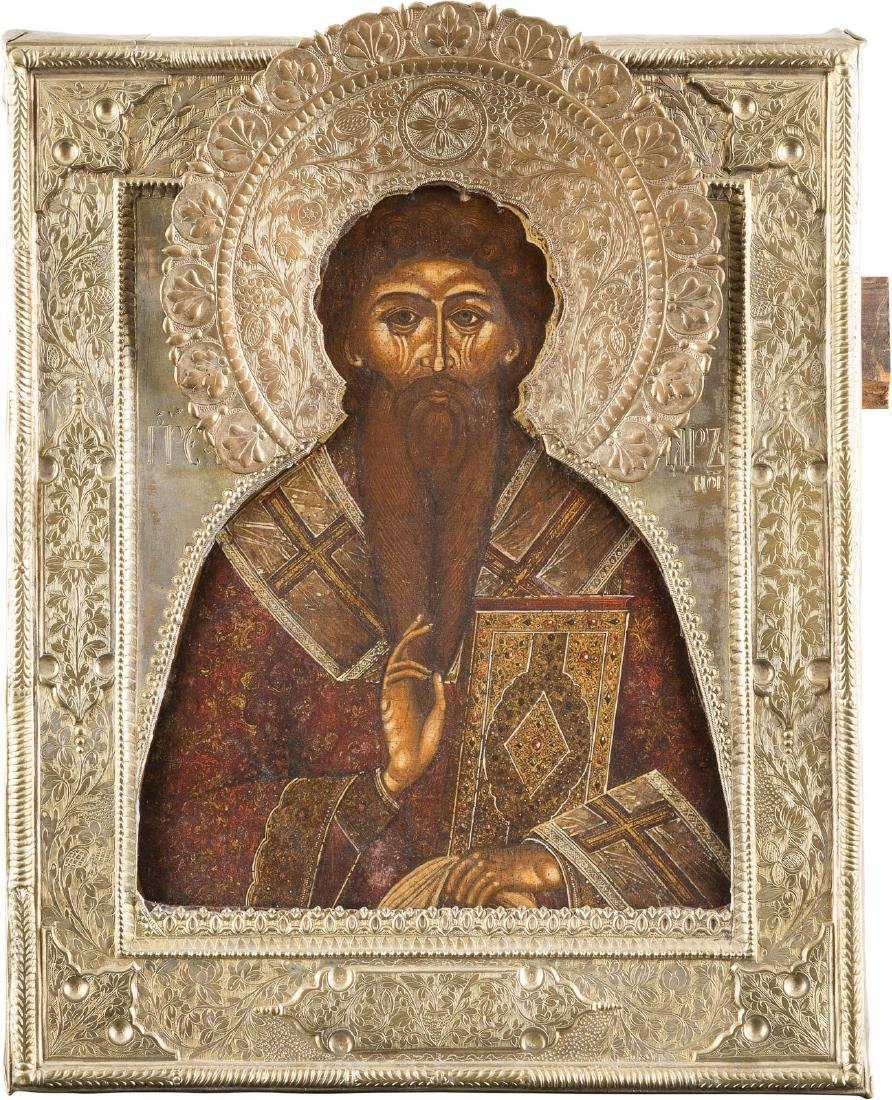 AN ICON SHOWING ST. ANTIP WITH RIZA Russian, 18th