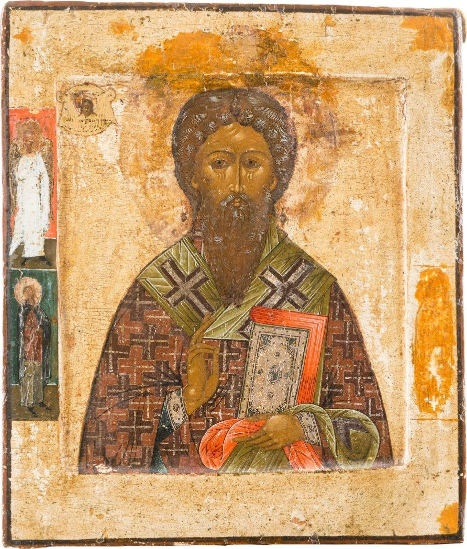 AN ICON SHOWING ST. ANTIPAS Russian, late 18th century