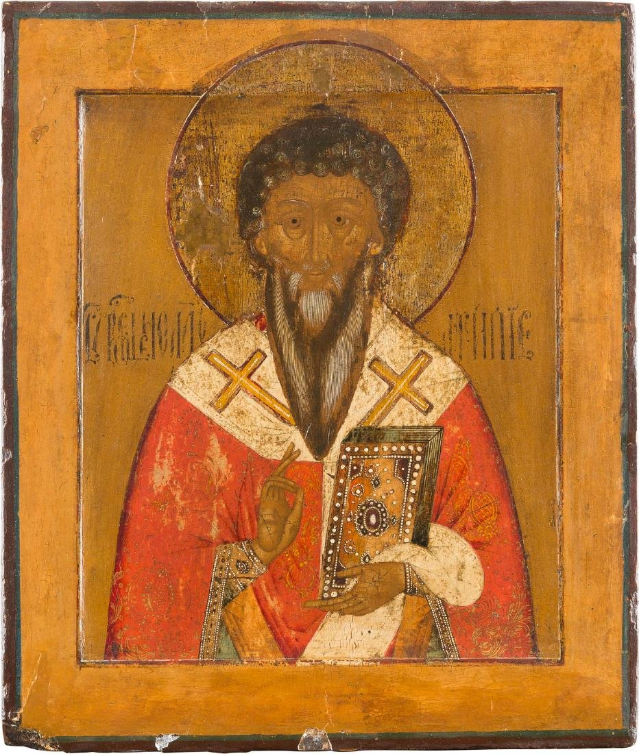 AN ICON SHOWING ST. ANTIPAS Russian, 19th century