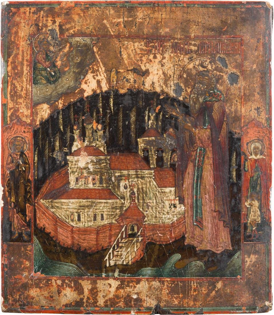 AN ICON SHOWING ST. NIL STOLBENSKIY Russian, late 18th