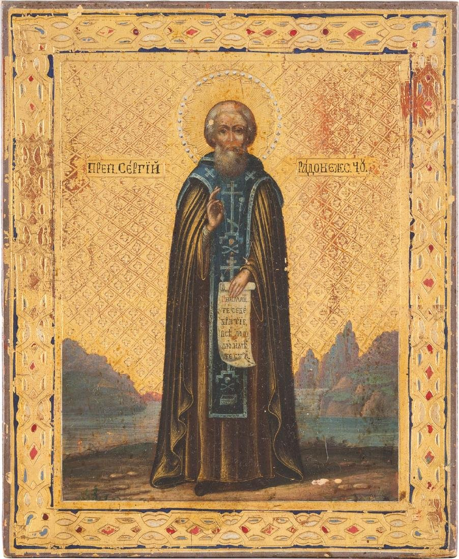 A SMALL ICON SHOWING ST. SERGEY OF RADONEZH Russian,