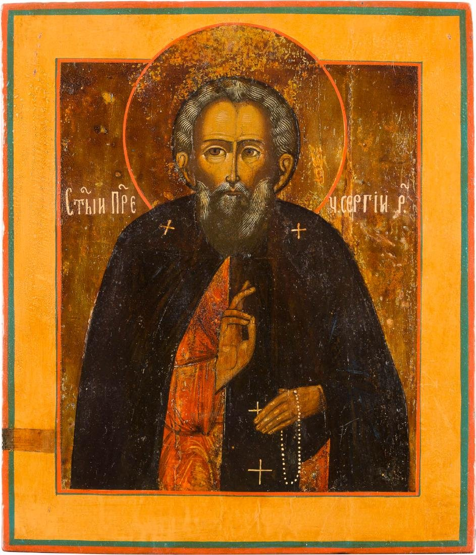 AN ICON SHOWING ST. SERGEJ OF RADONEZH Russian, 19th