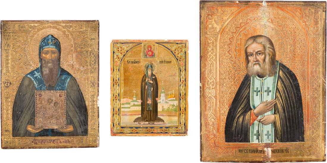 FOUR SMALL ICONS SHOWING MONASTIC SAINTS Russian, circa