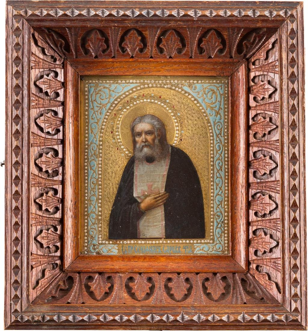 A SMALL ICON SHOWING ST. SERAPHIM OF SAROV WITH KYOT