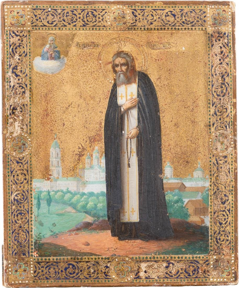 A SMALL ICON SHOWING ST. SERAPHIM OF SAROV Russian,