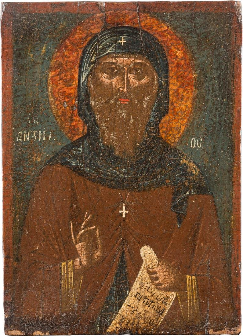 A SMALL ICON SHOWING ST. ANTONIUS Greek, 17th century