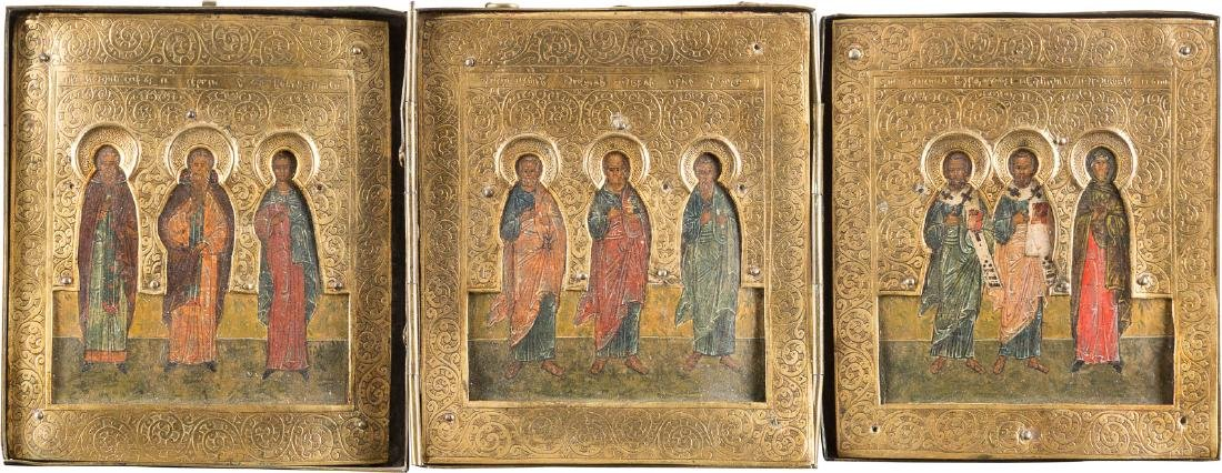 A SMALL TRIPTYCH SHOWING SELECTED FAMILY PATRON SAINTS