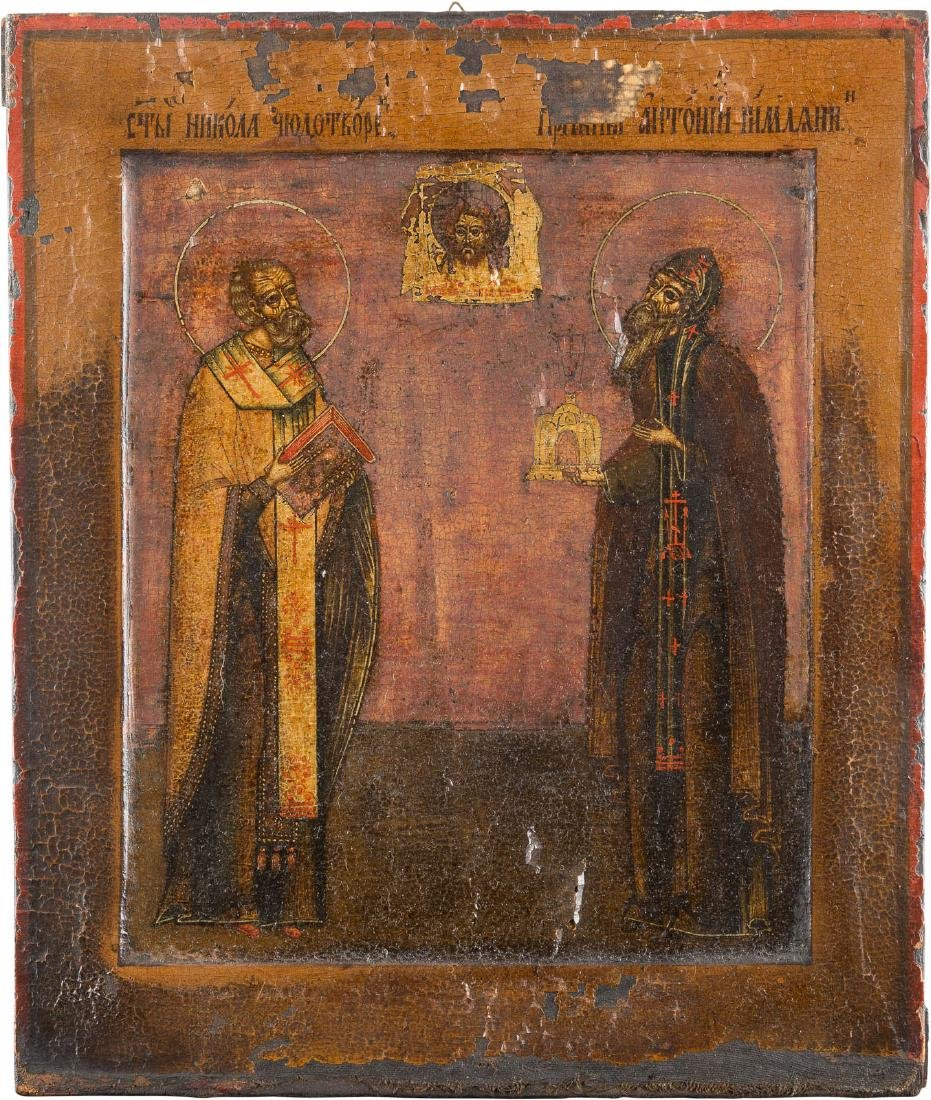 AN ICON SHOWING ST. NICHOLAS AND ST. ANTHONY THE ROMAN