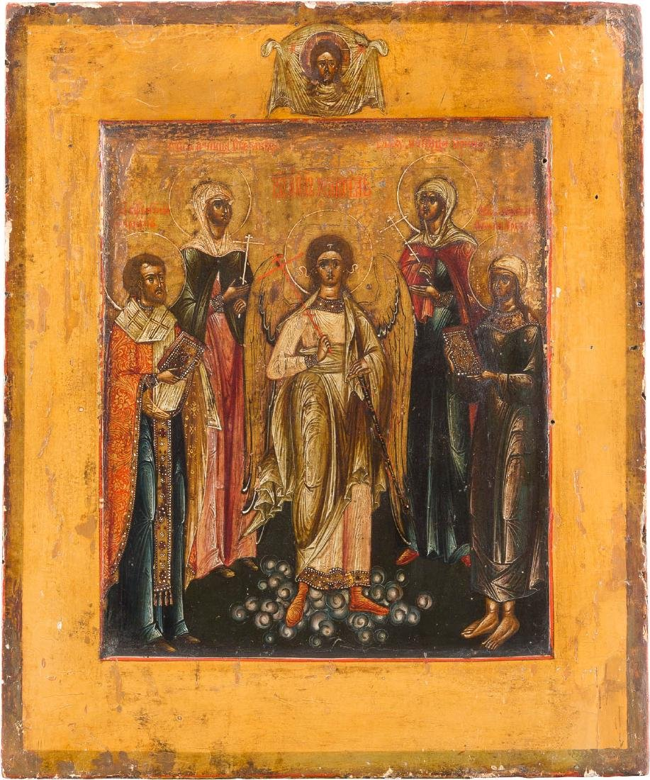 AN ICON SHOWING THE GUARDIAN ANGEL AND SELECTED SAINTS