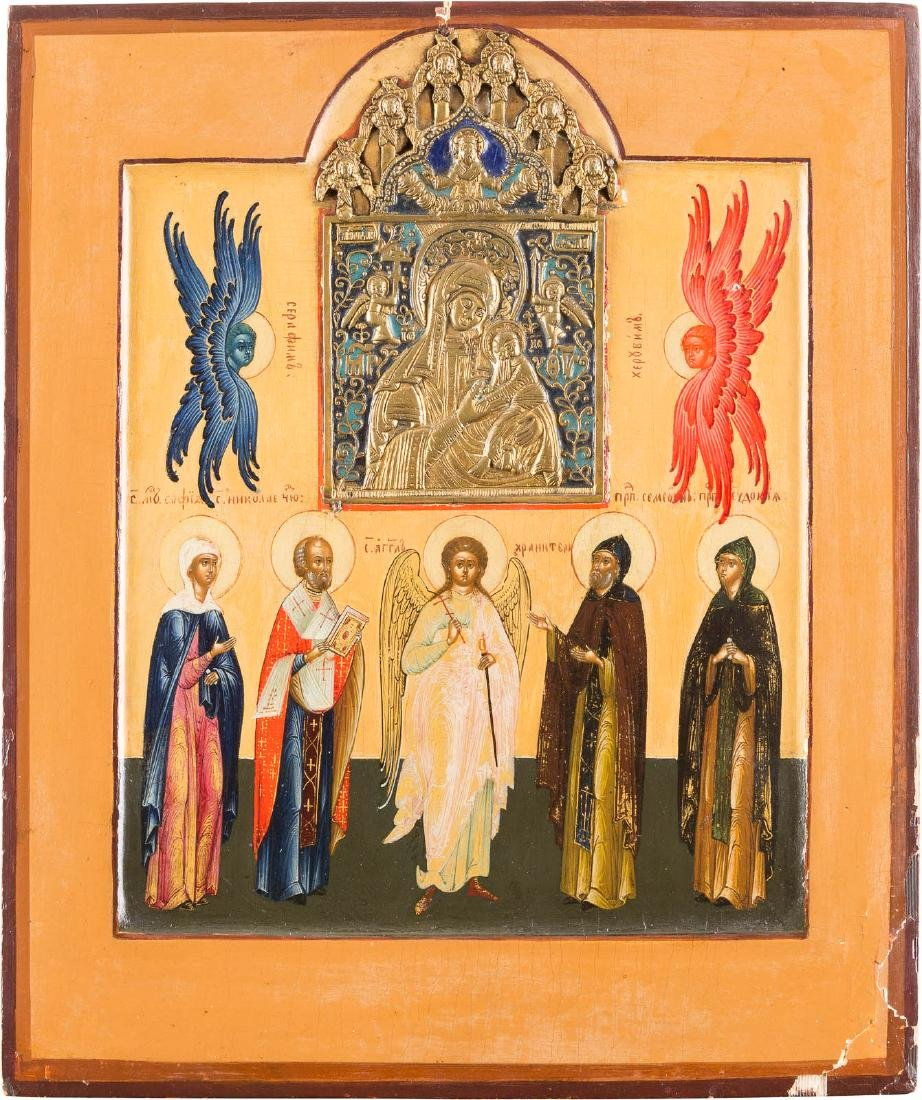 A FINE ICON SHOWING SELECTED SAINTS WITH ENAMELED
