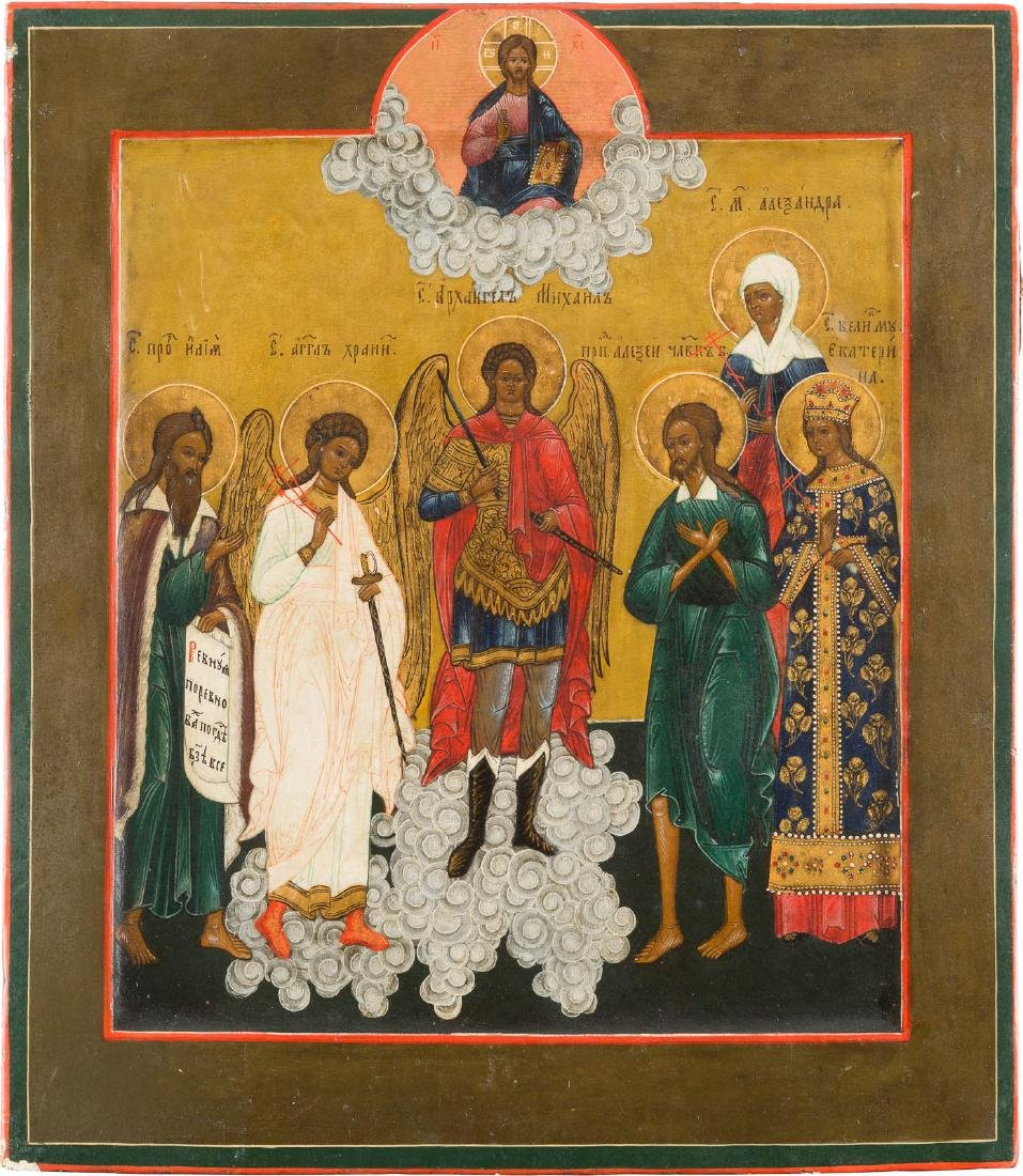 AN ICON SHOWING THE ARCHANGEL MICHAEL WITH SELECTED
