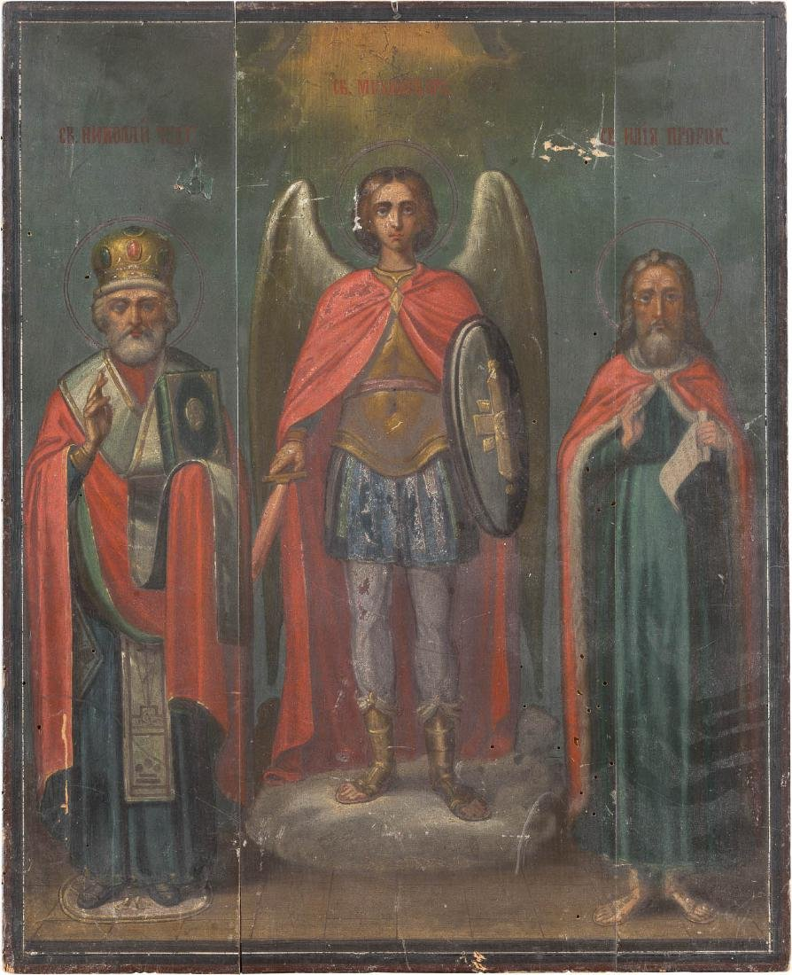 A LARGE ICON WITH THREE SAINTS: ARCHANGEL MICHAEL,