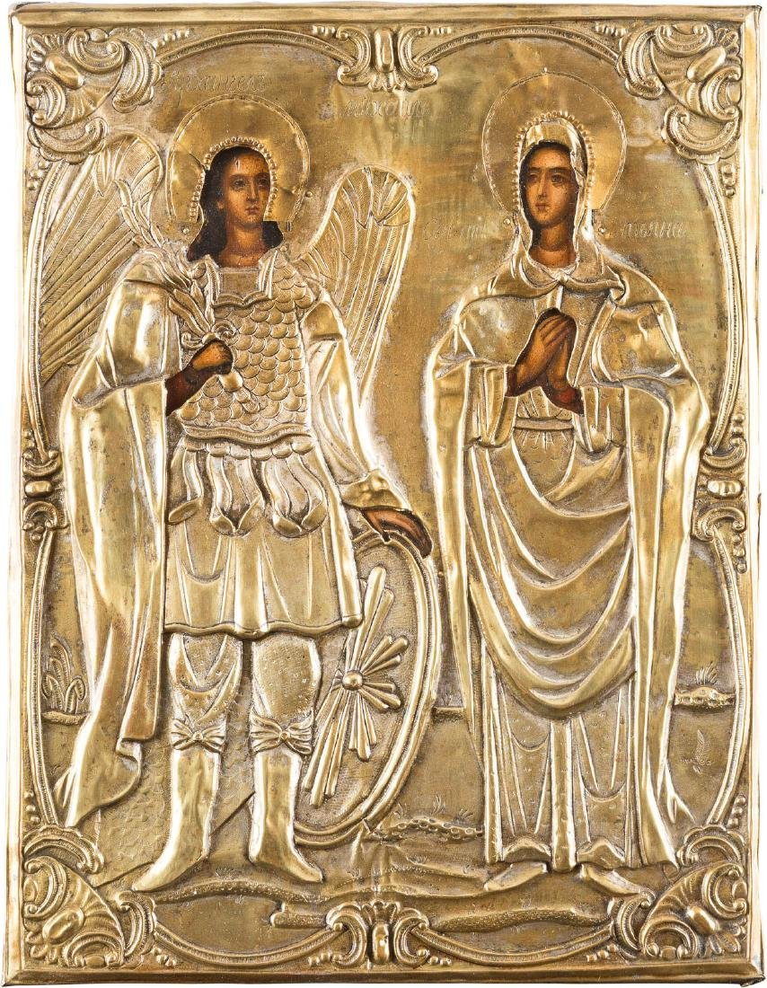 AN ICON WITH BRASS-OKLAD: ARCHANGEL MICHAEL AND ST.