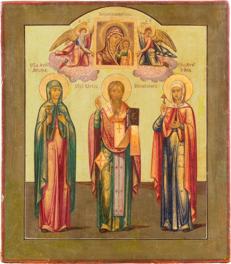 AN ICON SHOWING THREE SELECTED SAINTS Russian, late