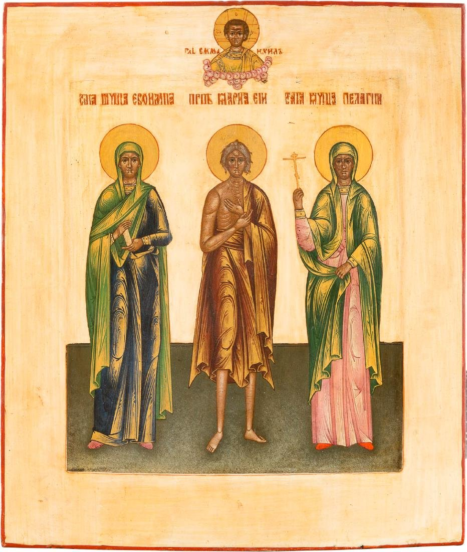 AN ICON SHOWING THREE SAINTS: ST. EUFIMIJA, ST. MARY OF
