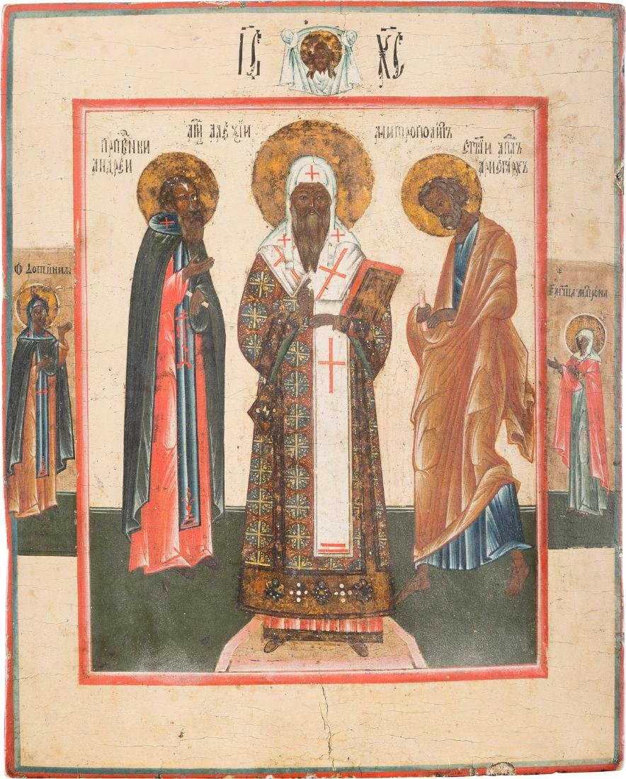 AN ICON SHOWING THREE SELECTED SAINTS Russian, circa